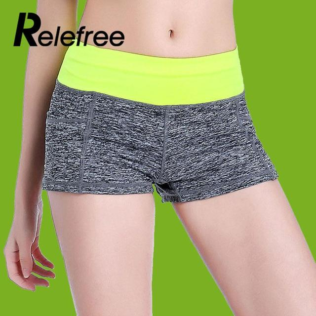 Relefree Women Yoga fitness sports training shorts female stretch running short pants sexy slim gym sweatpants workout clothes