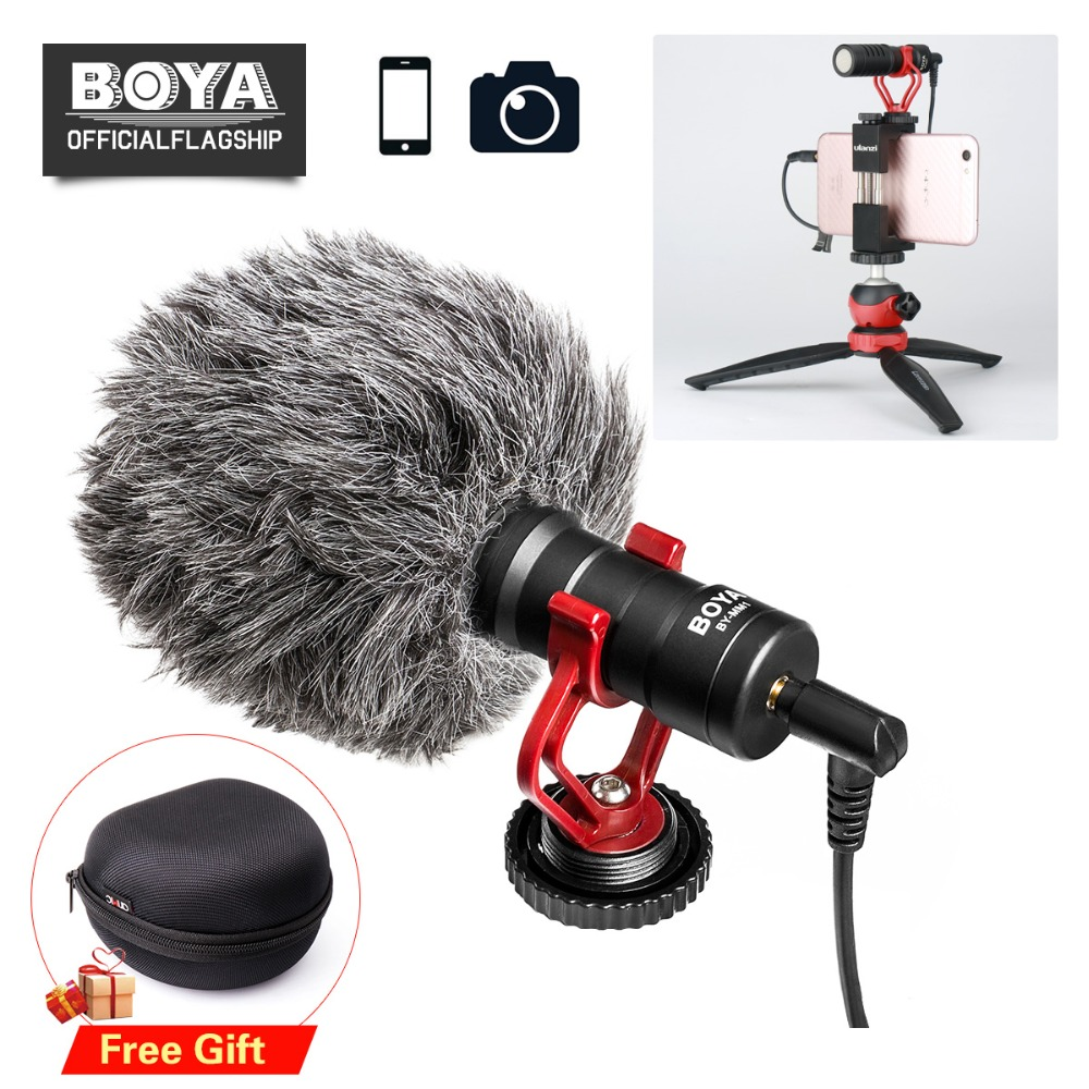 BOYA BY-MM1 Microphone with Handle Rig for Smartphone Youtube Livestream Video Grip for iPhone X 8 7 Plus Huawei Xiaomi Samsung u grip video action stabilizing handle grip rig set with by mm1 videomicro phone led on camera light for iphone canon nikon