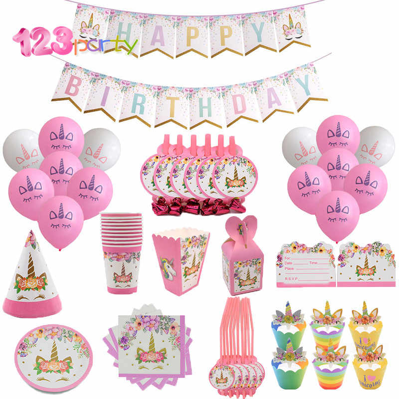 123 Party Unicorn Kits 1st Birthday Headband Paper Cups Plates Napkin