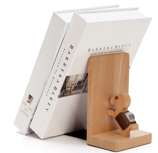 Wooden Bookend Bookshelf Book End Decoration Decorative Support Holder Desk Stands For Books