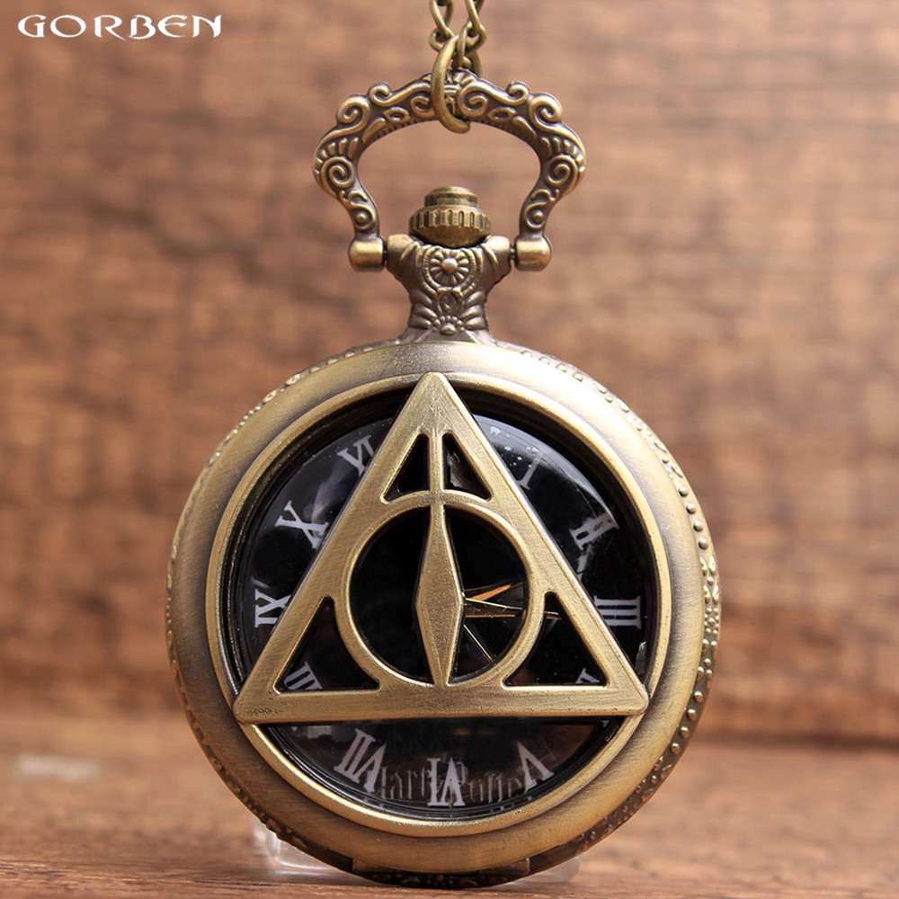 Harry Potter and The Deathly Hallows Pocket Watch Unique Triangle Design Quartz Pocket Hot Selling Men Watch Vintage Gifts european and american movies aladdin and the magic lamp quartz pocket watch do the old flip quartz watch chain table ds274