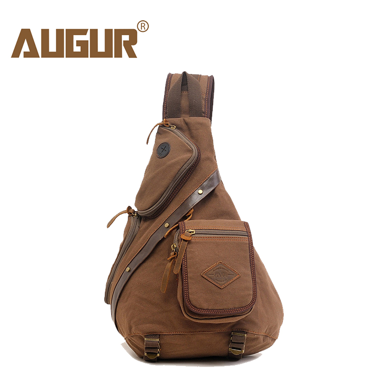 AUGUR Man Shoulder Bag Men's Canvas Messenger Bags Chest Sling Bag Male Casual Travel Military Larger Sling Chest pack Bag augur fashion men s shoulder bag canvas leather belt vintage military male small messenger bag casual travel crossbody bags