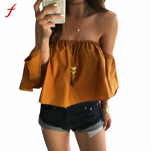77d026bf4ccc30 Feitong Off Shoulder Top Blouse Cropped for Women's Sleeveless Shirt Solid  Ruffle Blouse Woman Tops Chemises