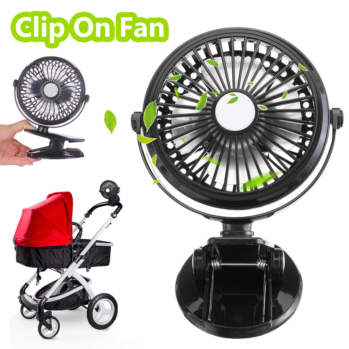 Mini Mute Clip Fan Rechargeable Silent 4 Blades Baby Stroller Fans Portable Air Cooling 3 Speeds Desk USB Fan with USB Output Вентилятор