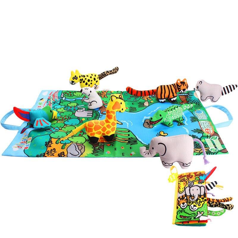 Jollybaby Bébé Lecture Jouets Éducatifs Rustle Sonores Hochet Cloche 3D Animaux Chiffon Doux Livre Pour Les Nouveau-nés Cadeaux Ramper Tapis