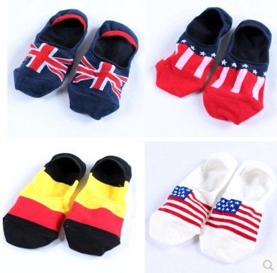 Summer Style Man's National Flag Boat Socks 2015 New Fashion British German Flag Invisible Ankle Sock
