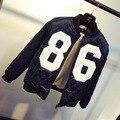 Invierno delgado bordado carta 86 diseño corto uniforme de béisbol wadded prendas de vestir exteriores de la chaqueta de algodón acolchado
