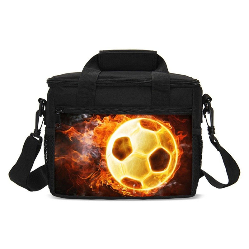 Small Lunch Bag Boys Girls Fashion Cool Fire Football 3D Printing Ice Bag Insulated Thermal Picnic Lunchbox Handbags Sac A Main