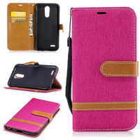 Contrast Color Cowboy Jean&PU Leather Cases for LG K10 2017 Kickstand Flip Mobile Phone Cases with Wallet Card Holders&Lanyard