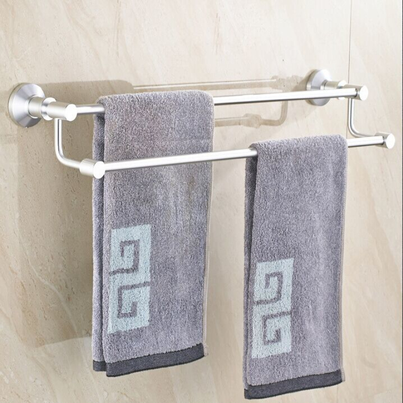60CM Wall Mounted Doble layers Towel Rack Holder Towel Shelf Tower Rail Towel Hanger Space Aluminum Bathroom Accessories tower bath towel dual bar aluminum alloy hanger rack silver
