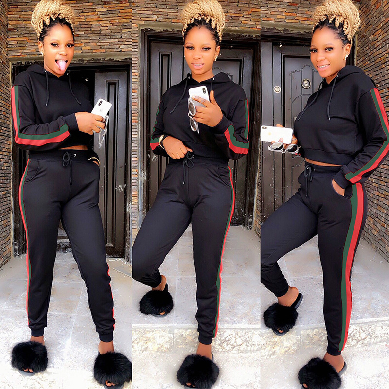 2 TWO PIECE SET Hoodies Tracksuit Women Joggers Sweat Suits Outfit Long Sleeve Track Pants Side Stripe Outfits Clothing Crop Top