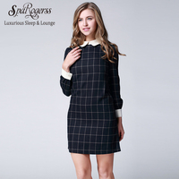 SpaRogerss 2017 Brand Women Autumn Plaid Long Sleeves Dress Ladies Fashion Slim Casual A Word Dress Large Size L-5XL Y16024