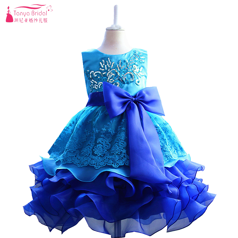 Blue   Flower     Girls     Dresses   With Lovely Princess Bow Two Tone color pageant   dresses   for   girls   Ruffles communie jurk meisje ZF009
