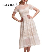 7a0a407529 LALA IKAI Brand Women Summer Dress 2018 Solid Sweet Lace Splicing Midi Girl  Vestidos Casual Beach