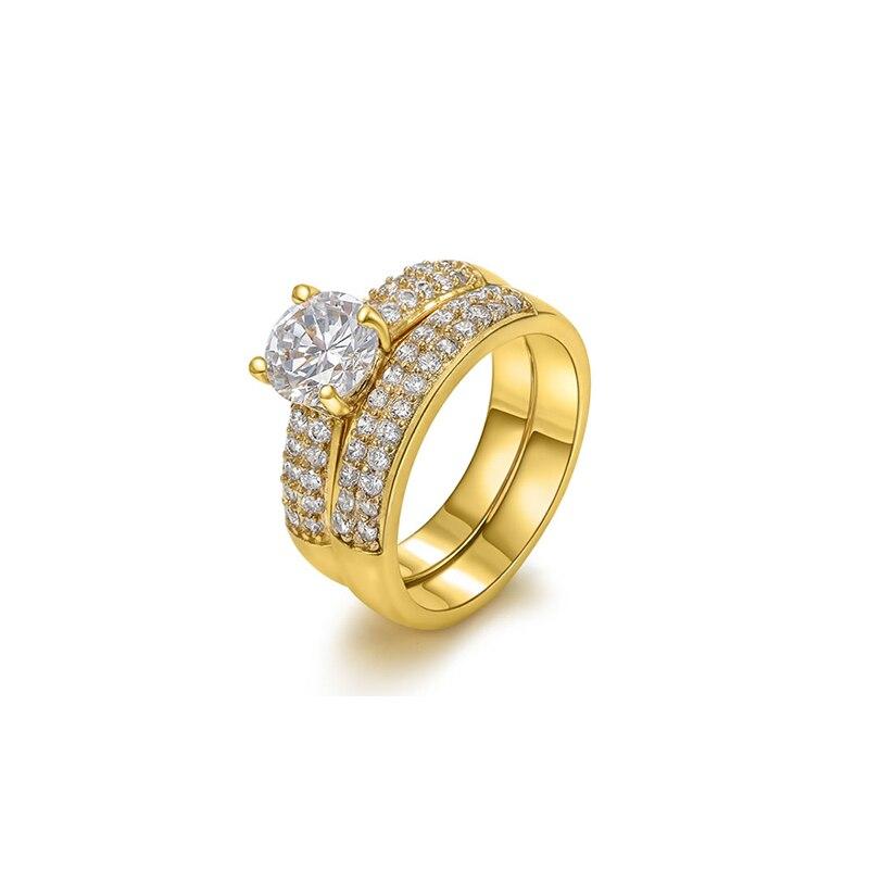 Свадебные Кольца для женских украшений Мода Розовое Золото Щепка Цвет CZ камнем обещание Обручение кольцо для Для женщин Для мужчин
