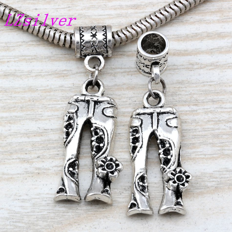 50pcs Dangle Ancient silver Jeans Floral Flower Hippie Pants Charm Big Hole Beads Fit European Charm Bracelet Jewelry A-113a
