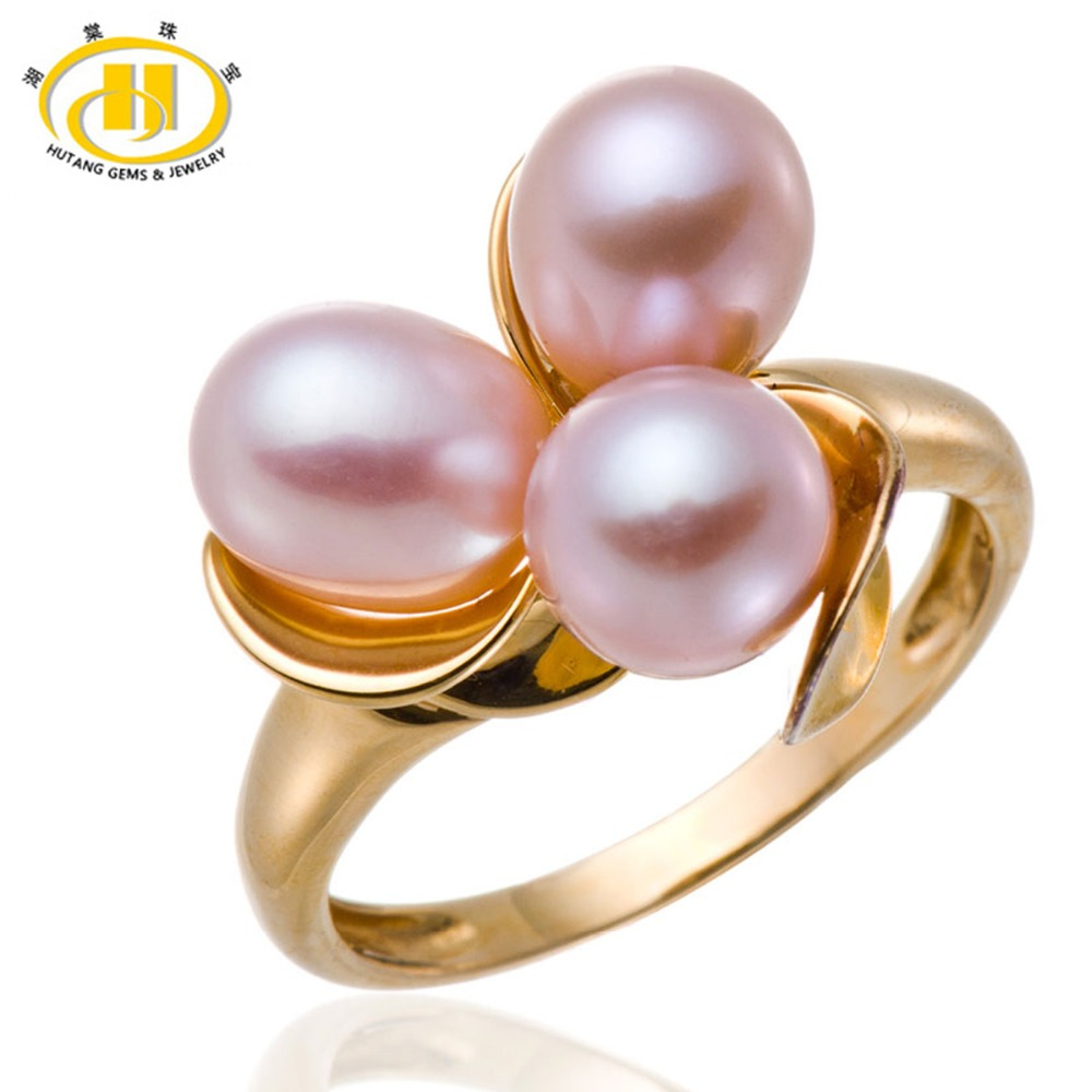 Hutang Pink Freshwater Cultured Pearl Rings Pure 925 Sterling Silver Ring Fine Classic Jewelry Flower Design