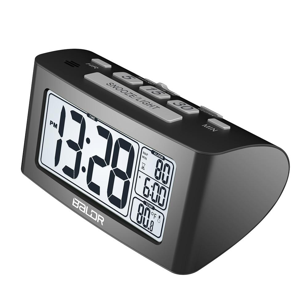 Baldr digital nap temporizador despertador ajuste rápido display  lcd de temperatura mesa relógios branco backlight termômetroclocktimer  ledclock motion