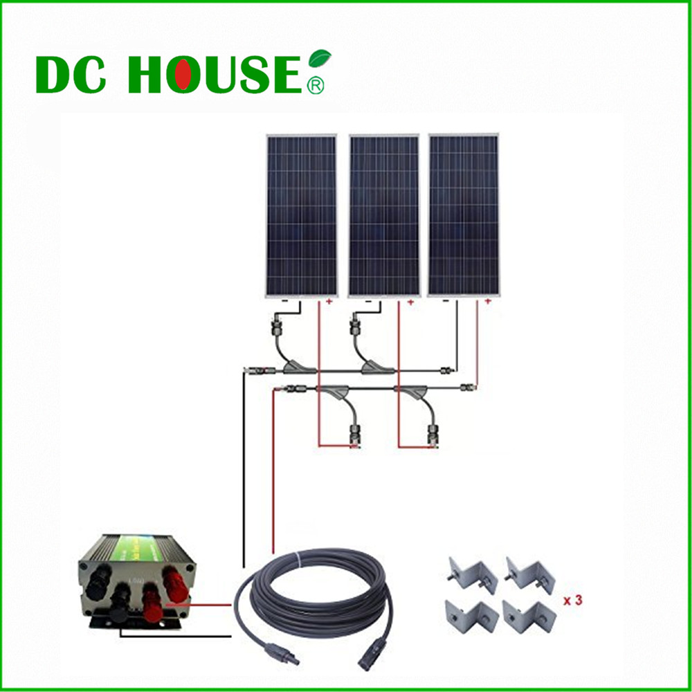 DC HOUSE USA Stock 3X150W 450W 12V Complete Solar System w/ 45A Solar Controller for Yacht RV dc house usa uk stock 300w off grid solar system kits new 100w solar module 12v home 20a controller 1000w inverter
