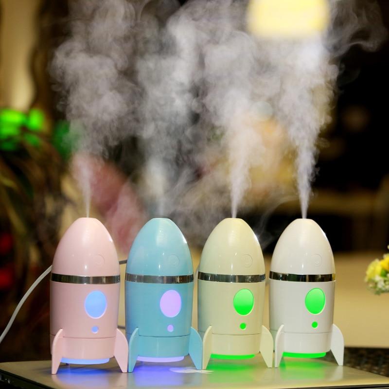 Cute Creative Rocket Shape Household Humidifier Room Aroma Diffuser USB port Mist Maker 5V