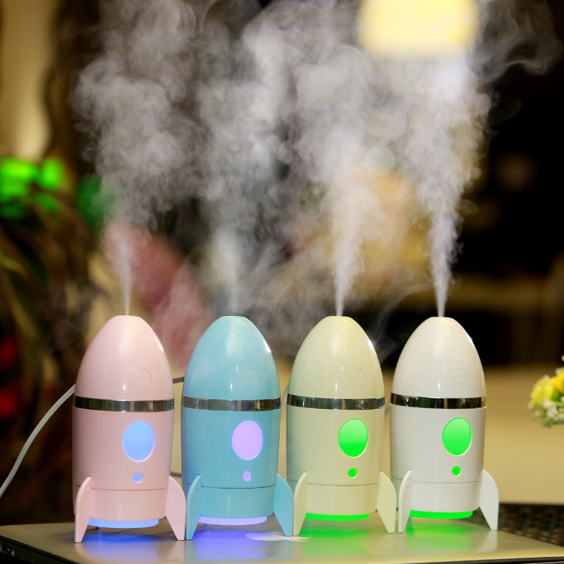 135ML Cute Rocket Shaped Air Humidifier USB Charging Aromatheraphy Diffuser With Romantic Colorful Night Light