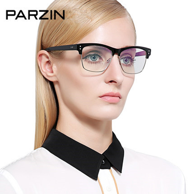 Parzin Men Eyeglasses Frames Women Tr 90 Half Box Myopia Glasses Frame Fashion Vintage Optics Clear lens Reading Glasses 5053 new hot fashion unisex women men hipster vintage retro classic half frame glasses clear lens nerd eyewear 4 colors
