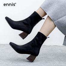 aacab41e66 ENNIS 2018 Botas de Inverno Mulheres Botas de Moda Outono Botas de Salto  Alto Tornozelo Preto Rebanho Cáqui Chunky Sapatos de Sa.