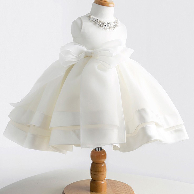 Sun Moon Kids Baby Girl Dress Summer Sleeveless Princess Party Tutu Dress With Bow O-neck Crystal Diamonds Solid Ball Gown