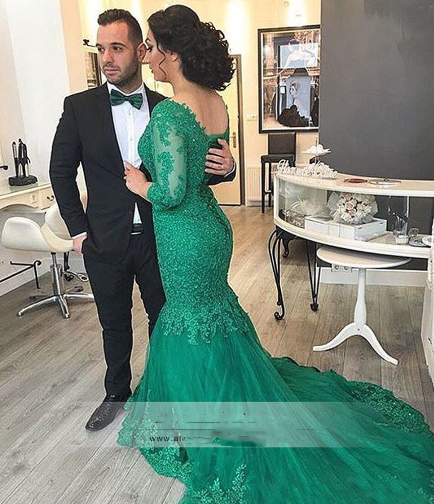 Robe Mariage Mermaid Lace Wedding Dresses Gothic Emerald Green
