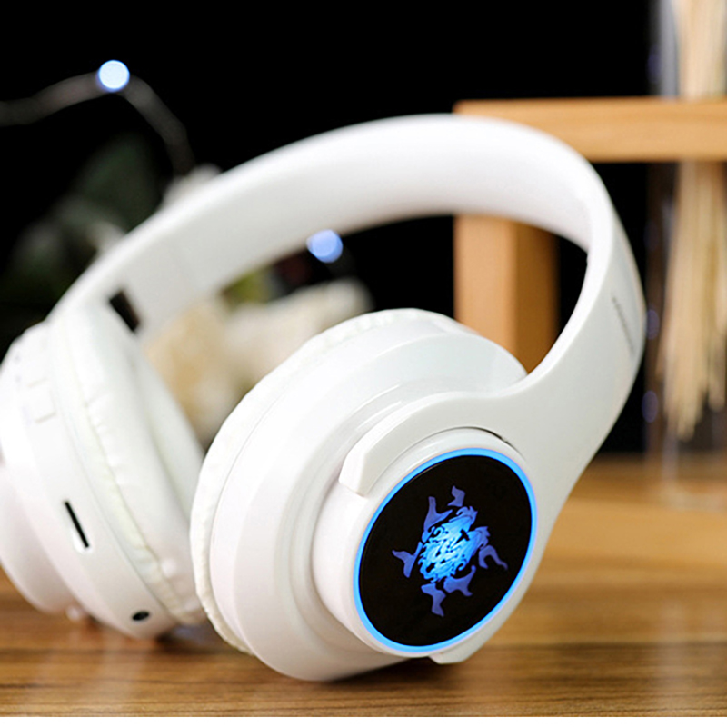 Earphone Bluetooth 4.1 Wireless HIFI  Seven-color LED Over Ear Headset Waterproof With Microphone Headphones Auricolari Headset