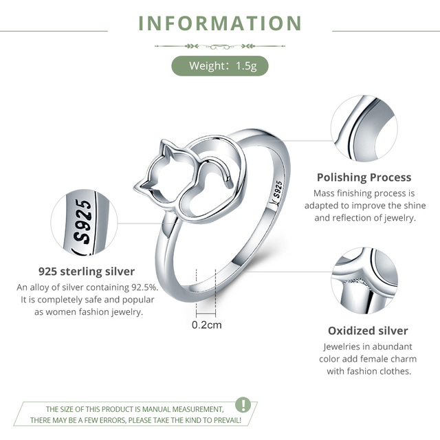 BAMOER Authentic 100% 925 Sterling Silver Naughty Little Cat & Heart Finger Ring for Women Sterling Silver Jewelry Gift SCR104 1