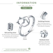 925 Sterling Silver Cat & Heart Ring for Women