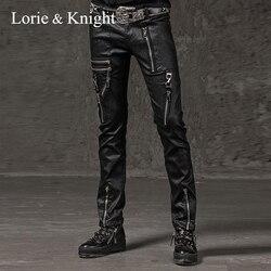 Мужские узкие черные брюки на молнии в стиле панк-рок, модные брюки в стиле хип-хоп