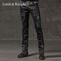 Men's Skinny Zipper Punk Rock Pencil Black Pants Fashion Hip Hop Pants
