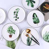 8 inch Green Plants Ceramic Plates Dinner Porcelain Dessert Plate Beef Dish Fruit Plate Cake Tray Food Ceramic Tableware 1pc