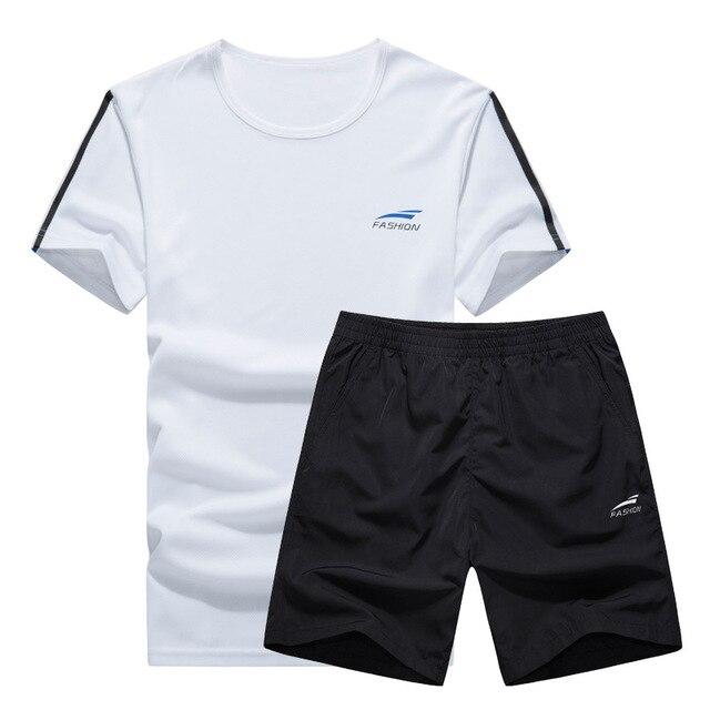 0dad172d9 € 13.44 45% de DESCUENTO 2019 moda verano hombres conjunto deportivo manga  corta Camiseta Fitness 2 piezas conjunto Casual chándal para hombre ropa ...