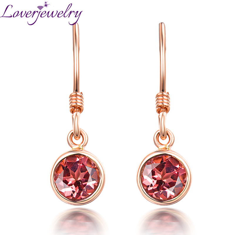 Charming Pink Tourmaline Earring Real 14K Rose Gold Good Gem for Women Wedding Fine Jewelry charming solid color faux gem embellished ear cuff for women one piece