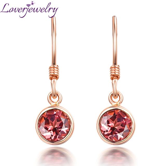Charming Pink Tourmaline Earring Real 14k Rose Gold Good Gem For Women Wedding Fine Jewelry