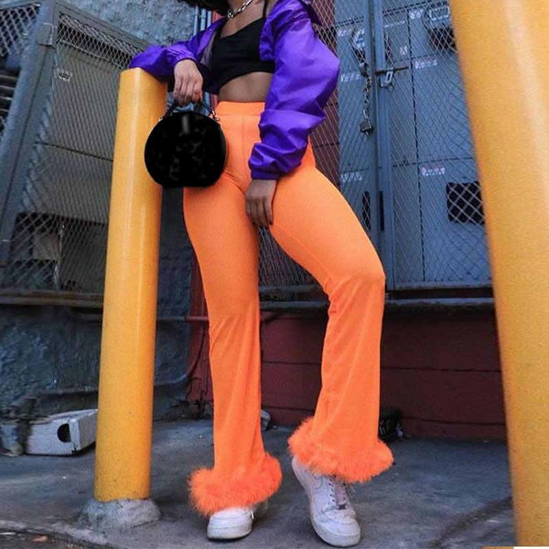 cc959ac975 ... 2019 Sexy Women Sheer Mesh Wide Leg Pants See Through Transparent Faux  Fur Trim Pants High
