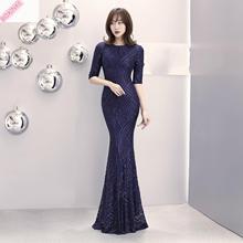 2019 Sale Half Maxi Dress Vestido De Festa New Womens Pearl Stripe Slim Fishtail Long Sexy Sequined Women Sequin Striped