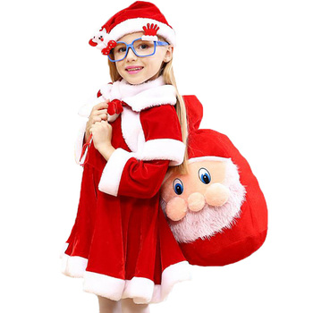 2 To 10 Years Christmas Costume Santa Claus Red Dress With Cloak Cosplay Children Clothing For Boys And Girls