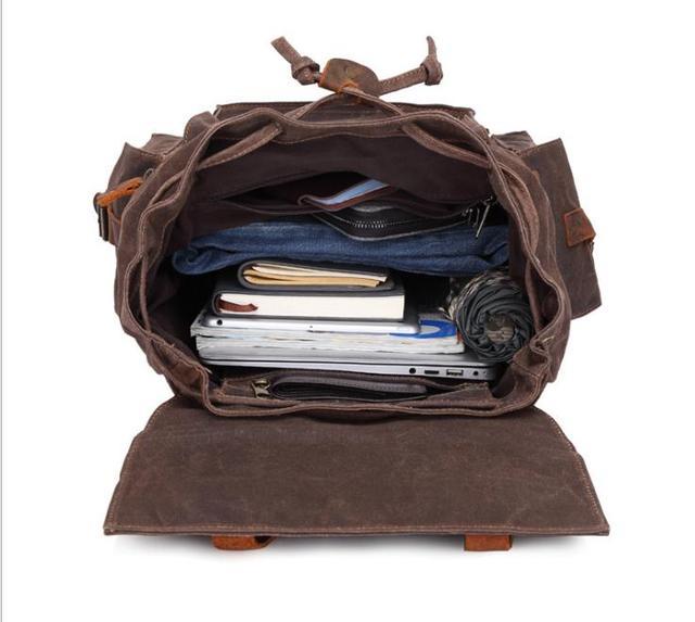 Men's canvas backpack, oil wax outdoor travel bag waterproof men's bag pinepoxp bag