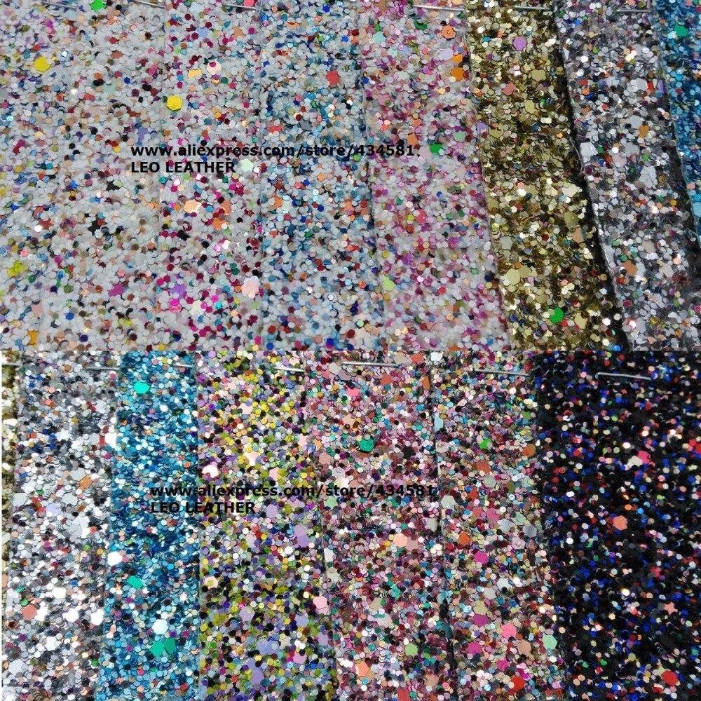Chunky Glitter Synthétique En Cuir Faux Cuir Tissu Glitter En Cuir avec Couleurs Glitter Pour Coudre DIY P762