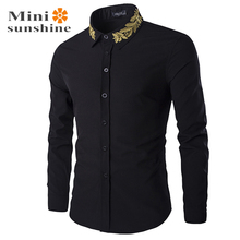 Casual Shirts Long Sleeve Tuxedo Mens Clothing clothes male Designer Brand Tommis Fashion White Black Men's Shirt