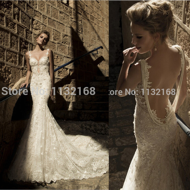 Unique Sexy Backless Ivory Mermaid Lace Wedding Dresseswedding