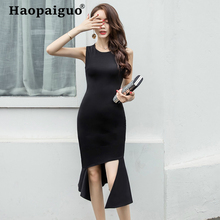 Plus Size Asymmetrical Casual Dress Women Sleeveless Midi Bandage Bodycon Sexy Party Summer 2019 ropa mujer