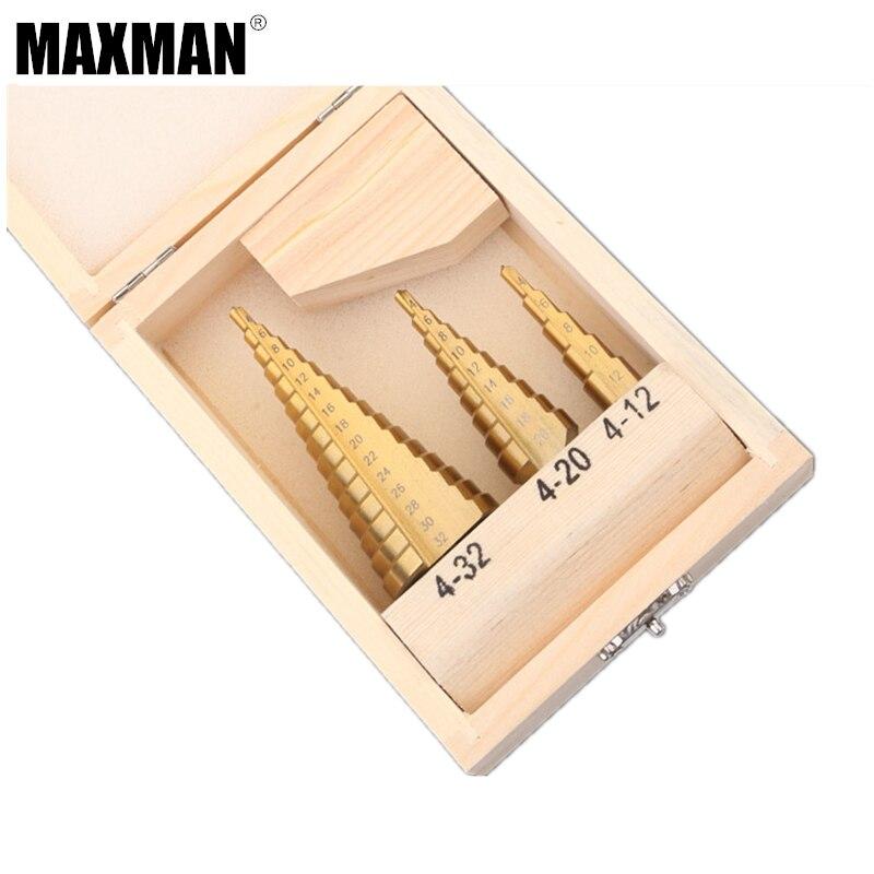 MAXMAN 3 stücke HSS Stahl Titan Schritt Bohrer 4-12mm 4-20mm 4-32mm Schritt Cone Schneidwerkzeuge Stahl Holzbearbeitung Metall Bohren Set