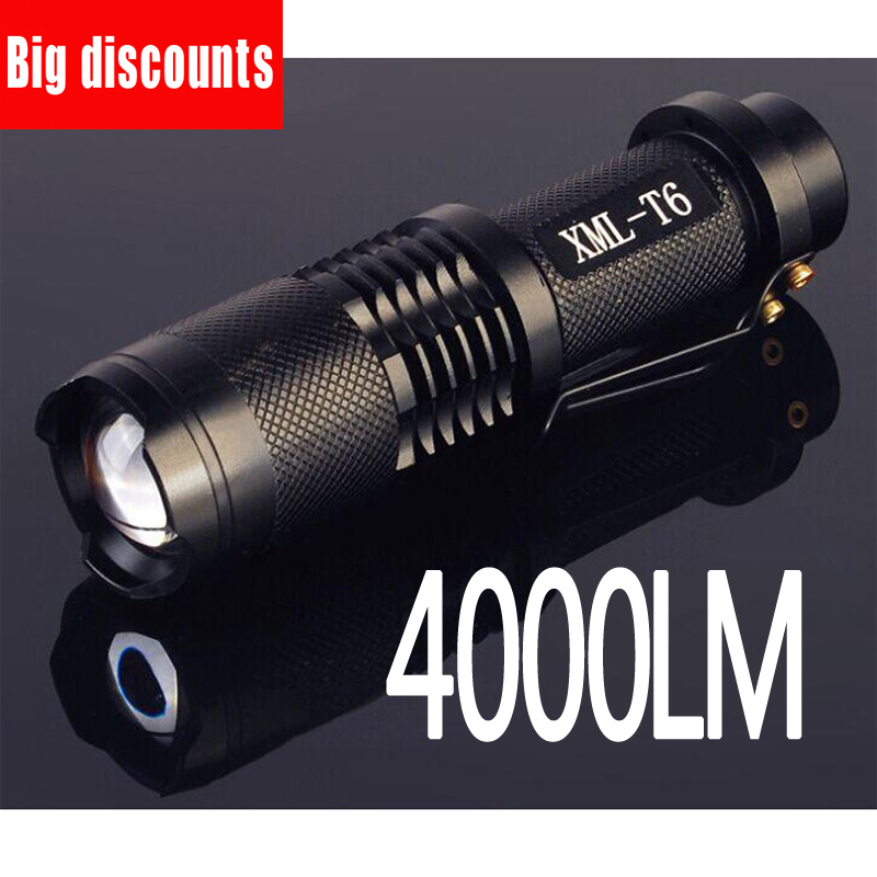Led flashlight 4000 lumens XML-t6 led Torch Zoomable LED Flashlight Torch light lampe torche uking xml t6 1000lm 5 mode zoomable camouflage flashlight torch