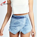 Irregular anchos de piernas Jeans Shorts 2016 estilo europeo bordar Culottes del dril de algodón mujeres Shorts Zipper Pantaloncini Donna