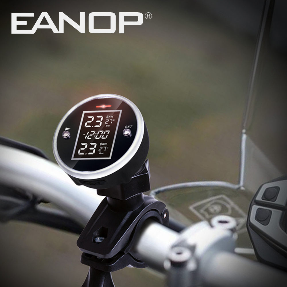 EANOP MT100 TPMS Motorcycle Wireless Tire Pressure Monitor for Motorbike External sensor with Clock